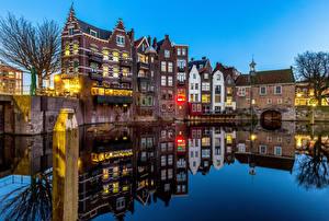 Картинки Голландия Роттердам Дома Речка Отражении Delfshaven Города