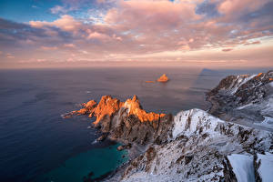 Фотография Норвегия Берег Море Лофотенские острова Облачно