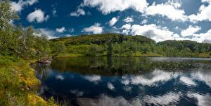 Обои Норвегия Озеро Облака Отражении Holmevatn Природа