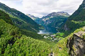 Обои Норвегия Горы Скала Сверху Фьорд Geiranger Природа