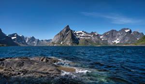 Фото Норвегия Гора Лофотенские острова Небо Скалы Hamnøy
