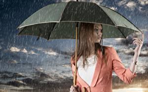Обои для рабочего стола Дождь Наручные часы Зонтом Шатенки Руки девушка