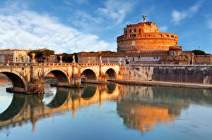 Картинки Рим Италия Реки Мосты Скульптуры Замки Castel Sant'Angelo, Tiber город