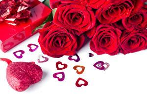 Картинка Розы День святого Валентина Красных Сердце Цветы