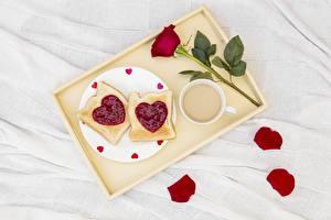 Фотография Роза День всех влюблённых Поднос Сердце Еда