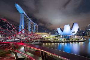 Фотографии Сингапур Мост Ночью Marina Bay Города