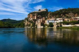 Фотография Испания Крепость Река Замки Tarragona, Castle Miravet, Ebro river