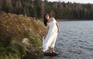 Фотографии Камни Озеро Трава Шатенки Платья Ветер девушка