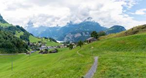 Фотографии Швейцария Дома Гора Луга Деревня Альп Тропинка Ingenbohl Природа