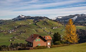 Фотографии Швейцария Горы Дома Осенние Альпы Toggenburg Природа