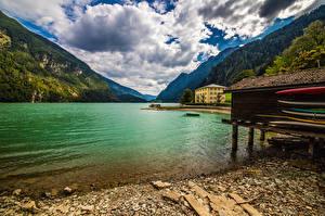 Картинки Швейцария Горы Озеро Альпы Облака Lago di Poschiavo Природа