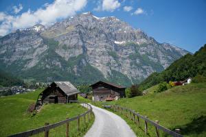 Обои Швейцария Горы Дороги Альп Glarus