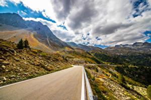 Фото Швейцария Горы Дороги Пейзаж Альпы Облака Graubünden Природа