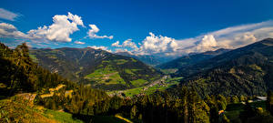 Фотография Швейцария Горы Пейзаж Панорама Альпы Облака Graubünden Природа
