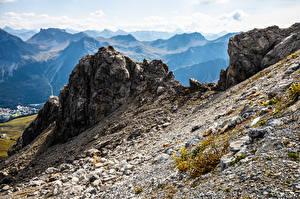 Фотографии Швейцария Гора Камни Альпы Скала Graubünden