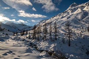 Обои Швейцария Горы Зимние Альп Снеге Sertigtal