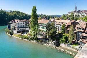 Картинки Швейцария Реки Здания Берег Bern, river Aare город