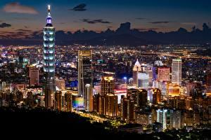 Фотография Тайвань Тайбэй Небоскребы Здания Мегаполиса Ночью