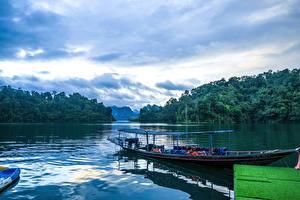 Фото Таиланд Парк Озеро Лес Пирсы Лодки Cheow Lan Lake Khao Sok National Park Природа