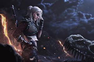 Фотографии Ведьмак 3: Дикая Охота Воители Доспехах Блондинки Фан АРТ Cirilla Игры Девушки Фэнтези