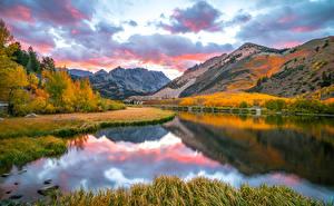 Фото США Осень Гора Озеро Калифорния Облака North Lake Природа