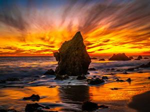 Картинки Америка Побережье Рассветы и закаты Океан Калифорнии Скала El Matador Beach