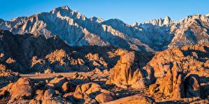 Картинки Америка Горы Камень Скале Калифорнии Alabama Hills