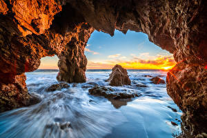 Фото Америка Океан Побережье Калифорнии Утес Арка El Matador Beach Природа