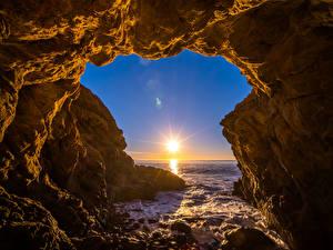 Обои Америка Океан Калифорния Скале Солнца El Matador Beach