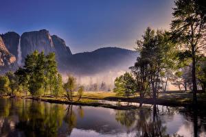 Картинки Америка Парки Горы Озеро Водопады Йосемити Деревьев Тумане Природа