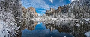Фотография США Парки Зимние Гора Озеро Пейзаж Отражении Деревьев Йосемити Природа