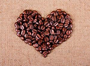 Фотографии День святого Валентина Кофе Серце Зерно Пища