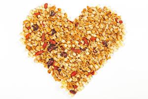 Фотография День святого Валентина Овсянка Изюм Белый фон Серце Пища