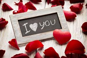 Фотография День святого Валентина Лепестки Сердце Слова Английский