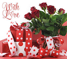 Картинка День святого Валентина Розы Слова Английская Темно красный Подарков Лента цветок