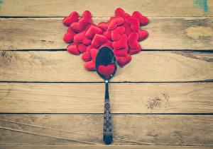 Фотографии День святого Валентина Ложки Сердца Доски