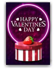 Фотографии День святого Валентина Векторная графика Клубника Белым фоном Коробка Слова Английский Сердца