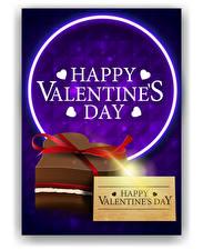 Фото День всех влюблённых Слова Инглийские Цветной фон Сердечко Подарков Бантик