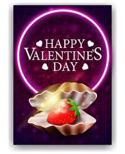 Картинка Векторная графика День святого Валентина Ракушки Клубника Слово - Надпись Английский Сердечко