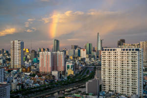 Обои Вьетнам Здания Реки Ho Chi Minh City Города