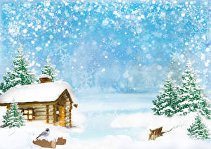 Обои для рабочего стола Зимние Здания Птица Снег Ель Снежинки Шаблон поздравительной открытки Природа