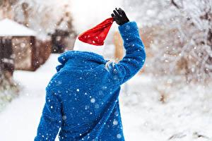 Фотография Зимние Снег Вид сзади Шапки Шубе Руки Перчатках