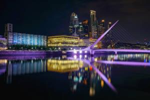 Фотографии Аргентина Дома Река Мосты Ночь Отражение Buenos Aires Города