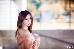 Картинка Азиатка Боке Шатенка Взгляд Руки Свитере молодые женщины