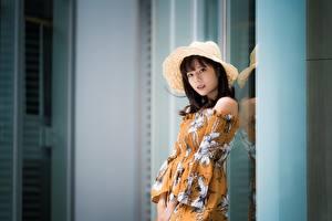 Фотографии Азиатки Размытый фон Брюнетки Шляпе Взгляд Платье молодые женщины