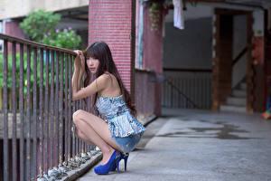 Картинки Азиатка Забором Размытый фон Брюнетки Взгляд Сидя Ног молодые женщины