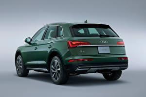 Картинка Ауди CUV Зеленый Металлик Сером фоне Сзади Q5 40 TDI quattro advanced, JP-spec, 2021 машины