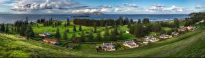 Обои Австралия Берег Пейзаж Дома Облако Облака Norfolk Island Природа