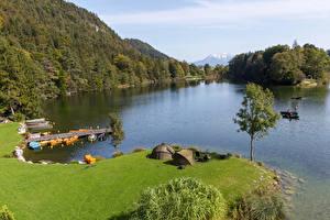 Картинки Австрия Озеро Побережье Причалы Скалы Деревья Lake Reintaler Tyrol Природа