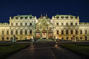 Фото Австрия Вена Скульптура Дворец Ночь Лестница Уличные фонари Belvedere